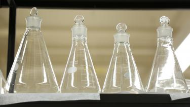 Four glass beakers in profile